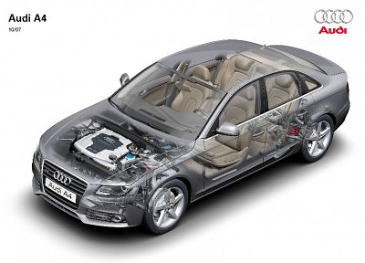 cars, Audi A4, cutaway, German cars - random desktop wallpaper