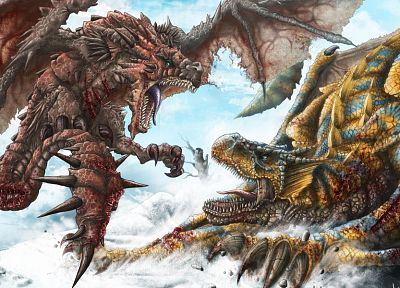 wings, dragons, blood, Monster Hunter, fantasy art, battles, artwork, Tigrex, Rathalos - related desktop wallpaper