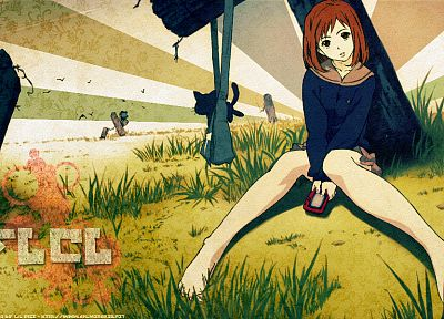 FLCL Fooly Cooly, grass, school uniforms, outdoors, Canti, barefoot, sitting, anime, anime girls, Samejima Mamimi - random desktop wallpaper