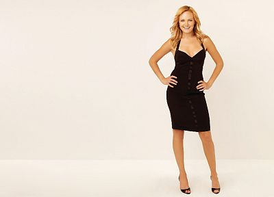women, Malin Akerman, black dress, white background - random desktop wallpaper