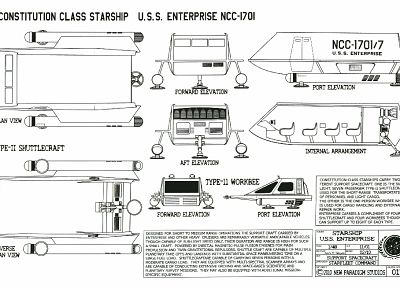 Star Trek, USS Enterprise, Star Trek schematics - random desktop wallpaper