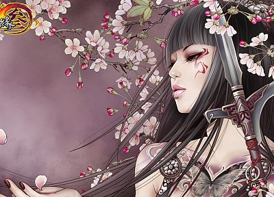 brunettes, tattoos, flowers, anime, spears, flower petals, anime girls - related desktop wallpaper