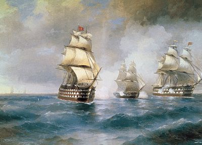 paint, battles, artwork, sail ship, Ivan Aivazovsky - related desktop wallpaper