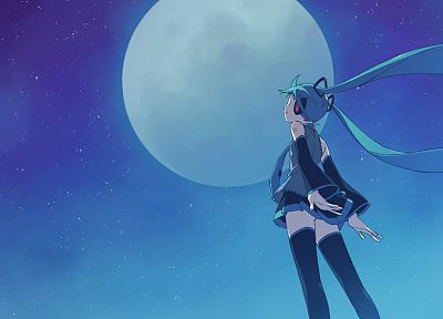 headphones, tattoos, Vocaloid, night, back, stars, stockings, Hatsune Miku, Moon, tie, wind, skirts, long hair, outdoors, thigh highs, twintails, closed eyes, aqua hair, skyscapes, Full Moon, anime girls, detached sleeves, hair ornaments, bangs, black sto - related desktop wallpaper