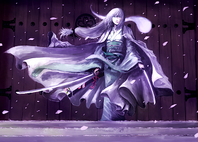 Touhou, ghosts, Konpaku Youmu, Japanese clothes, swords - random desktop wallpaper