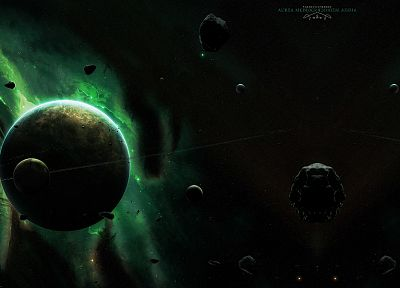 green, outer space, planets, rocks, rings, asteroids, meteorite, moons - related desktop wallpaper