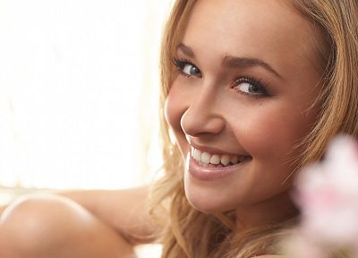 blondes, women, actress, Hayden Panettiere, celebrity, smiling, white background - desktop wallpaper
