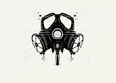 minimalistic, gas masks, simple background - random desktop wallpaper