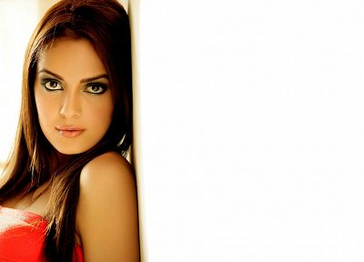 brunettes, women, red, Shazia Sahari - related desktop wallpaper