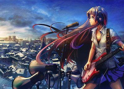headphones, skirts, long hair, red eyes, guitars, soft shading, anime girls, microphones, Beats Audio, original characters - related desktop wallpaper