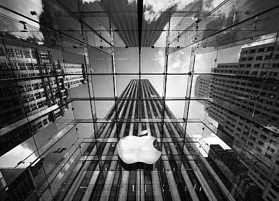 Apple Inc., Mac, architecture, buildings, grayscale, monochrome - related desktop wallpaper