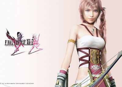 blue eyes, Final Fantasy XII, pink hair, Serah Farron, bow (weapon) - desktop wallpaper