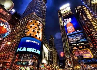 cityscapes, night, architecture, buildings, New York City, skyscrapers, Times Square, advertisement - related desktop wallpaper