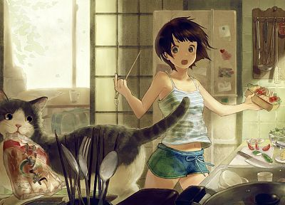 brunettes, women, cats, black eyes, short hair, anime girls, original characters - related desktop wallpaper