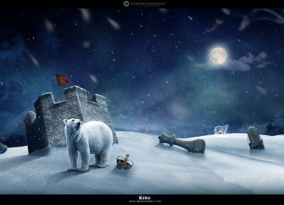 abstract, snow, Moon, crowns, chess pieces, Desktopography, polar bears, night sky - random desktop wallpaper