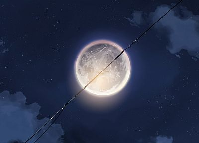 outer space, Moon, Makoto Shinkai, power lines, skyscapes - desktop wallpaper