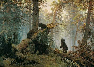 paintings, forests, bears, Ivan Shishkin - random desktop wallpaper