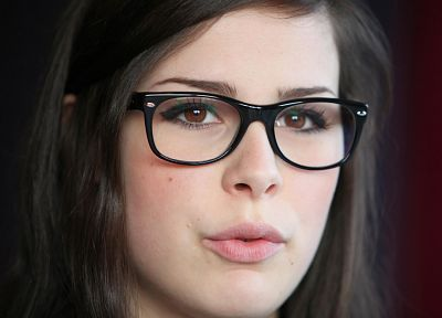 brunettes, women, glasses, brown eyes, singers, Lena Meyer-Landrut, faces, girls with glasses - random desktop wallpaper
