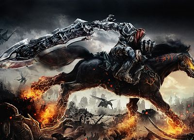 war, death, Darksiders, horses, swords - related desktop wallpaper