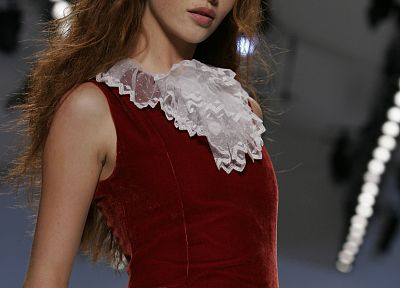 women, redheads, models, red dress, runway - desktop wallpaper