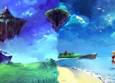 landscapes, Chrono Trigger, fantasy art, dreams, Chrono Cross, artwork, floating islands, children - related desktop wallpaper