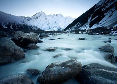 ice, mountains, landscapes, nature, snow, rocks, glacier, New Zealand - random desktop wallpaper