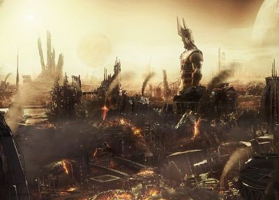 ruins, fire, destroyed, behemoth, apocalyptic - random desktop wallpaper