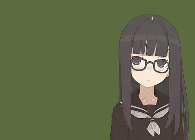 school uniforms, glasses, anime girls, black hair - desktop wallpaper