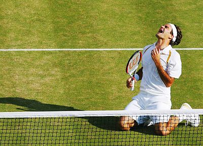 green, grass, tennis, Wimbledon, headbands, Roger Federer, tennis court - desktop wallpaper