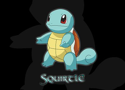 Pokemon, Squirtle, black background - desktop wallpaper