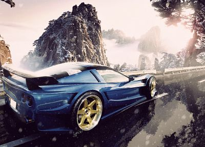 mountains, cars, roads, vehicles, Chevrolet Corvette - related desktop wallpaper