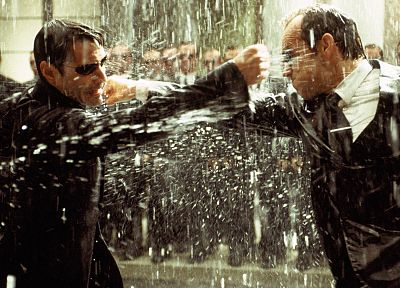 rain, Neo, Matrix, Agent Smith, screenshots, sunglasses, Keanu Reeves, Hugo Weaving, punch - random desktop wallpaper