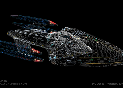 Star Trek, spaceships, vehicles, wireframe, USS Prometheus - random desktop wallpaper
