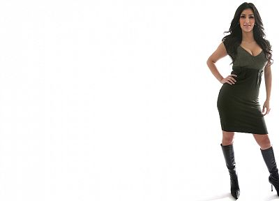 leather, boots, women, cleavage, Kim Kardashian, high heels, leather boots - desktop wallpaper