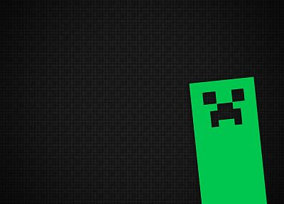 video games, minimalistic, creeper, Minecraft - random desktop wallpaper