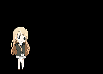 blondes, K-ON!, school uniforms, Kotobuki Tsumugi, anime, simple background, anime girls, black background - desktop wallpaper