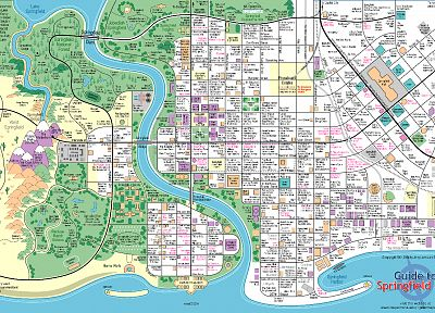 The Simpsons, maps, Springfield - related desktop wallpaper