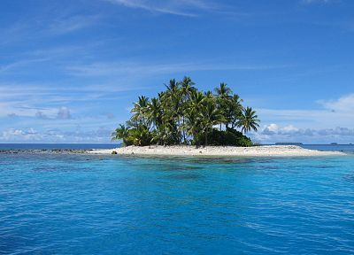 water, ocean, landscapes, islands, palm trees, Micronesia, blue skies - desktop wallpaper