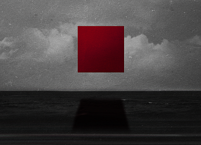 abstract, clouds, red, shadows, selective coloring, squares - desktop wallpaper