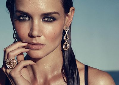 brunettes, women, close-up, models, Katie Holmes, jewelry, fashion photography, faces - related desktop wallpaper