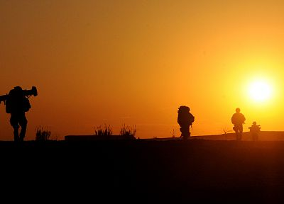 soldiers, Sun, silhouettes, Afghanistan - related desktop wallpaper