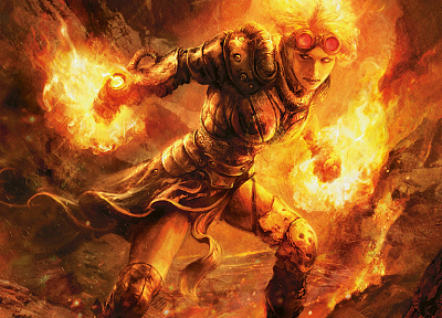 women, fire, Magic: The Gathering, glasses, artwork, Chandra Nalaar, Planeswalker - related desktop wallpaper