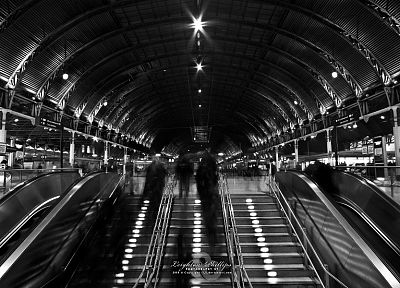 London, stairways, grayscale, escalators, monochrome - related desktop wallpaper