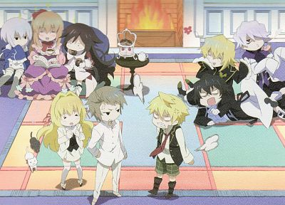 cats, Pandora Hearts, anime boys, Gilbert Nightray, Oz Vessalius, Echo (Pandora Hearts), Xerxes Break, Elliot Nightray, Alice (Pandora Hearts), Sharon Rainsworth, Vincent Nightray, anime girls, fireplaces - related desktop wallpaper