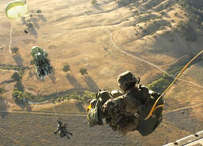 soldiers, army, Parachuting - related desktop wallpaper