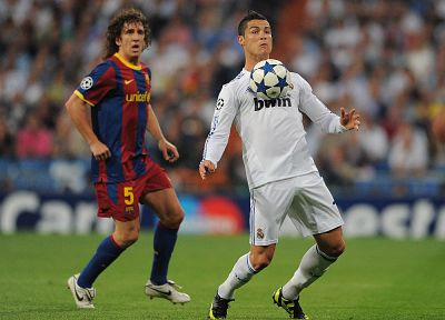 sports, Real Madrid, Cristiano Ronaldo, FC Barcelona, Carles Puyol - random desktop wallpaper