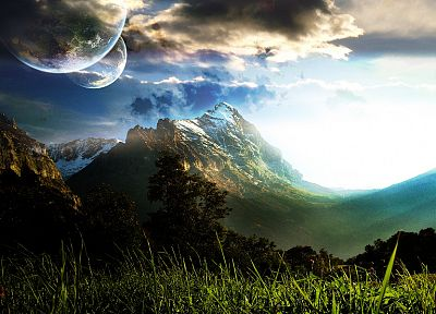 mountains, clouds, landscapes, planets, grass - random desktop wallpaper