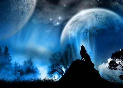 Moon, wolves - random desktop wallpaper