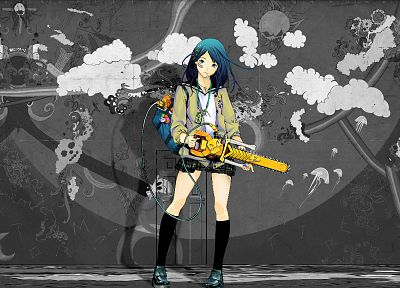 black and white, blue, yellow, gray, chainsaw, anime, selective coloring - random desktop wallpaper