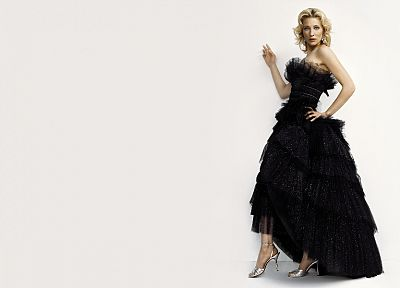 blondes, women, actress, Cate Blanchett, high heels, black dress, white background - random desktop wallpaper